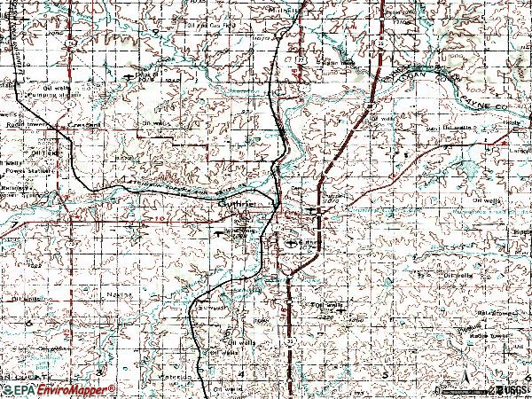 Zip code 73044 topographic map