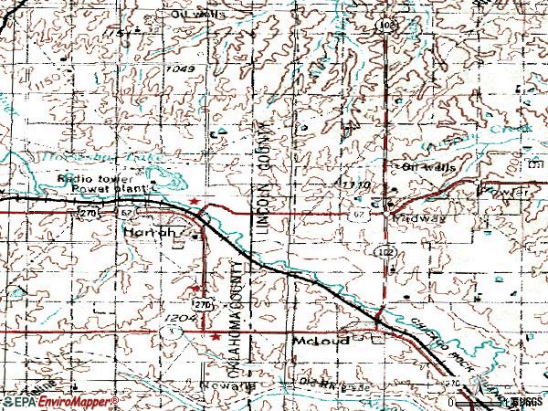 Zip code 73045 topographic map