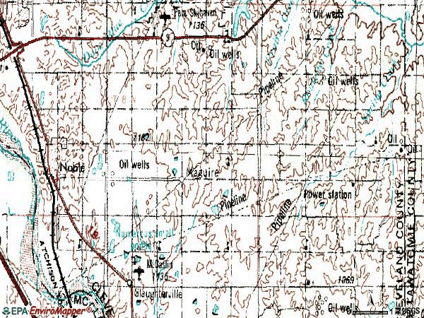 Zip code 73068 topographic map