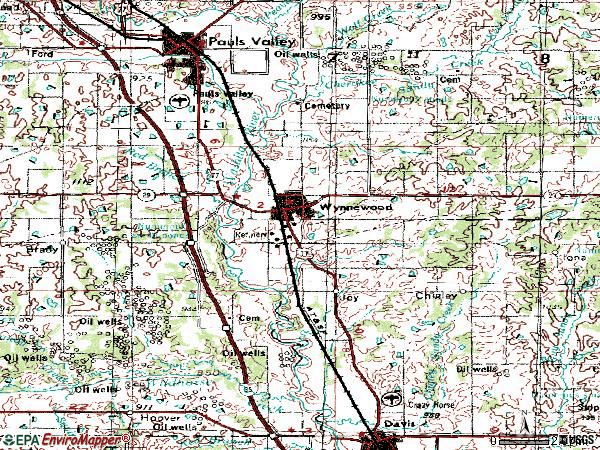 Zip code 73098 topographic map