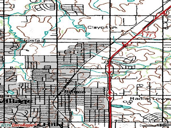 Zip code 73114 topographic map