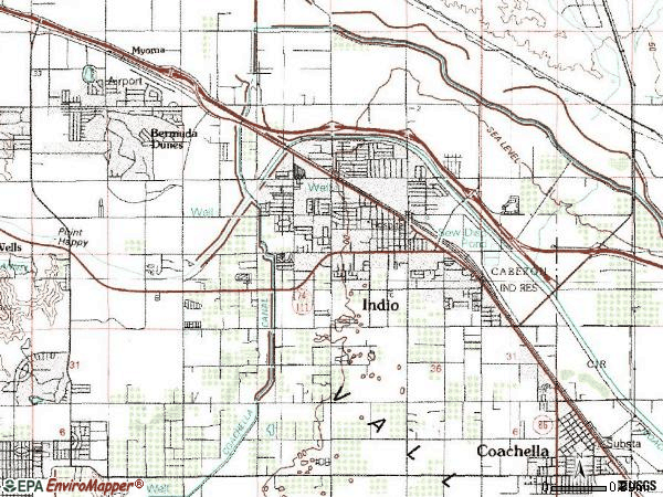 Zip code 92201 topographic map