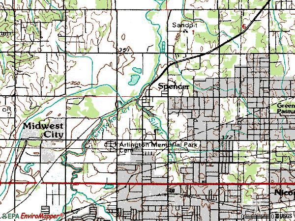 Zip code 73141 topographic map
