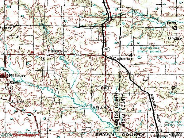 Zip code 73432 topographic map
