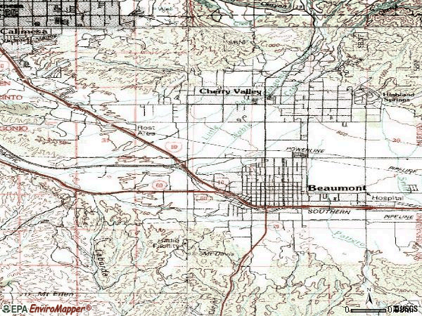 Zip code 92223 topographic map