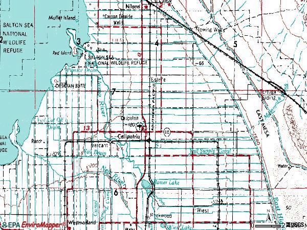 Zip code 92233 topographic map