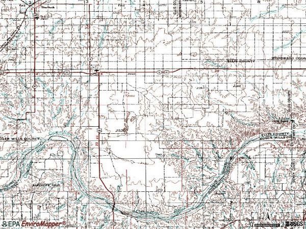 Zip code 73832 topographic map