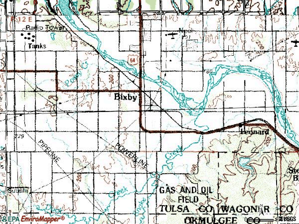 Zip code 74008 topographic map
