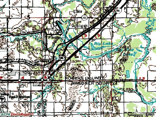 Zip code 74015 topographic map