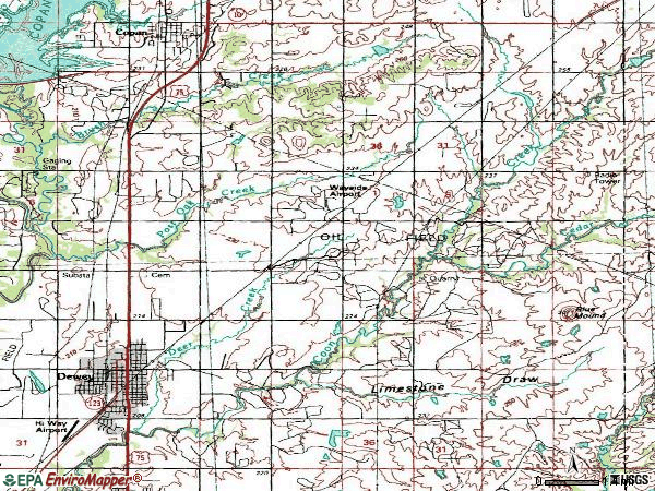Zip code 74029 topographic map