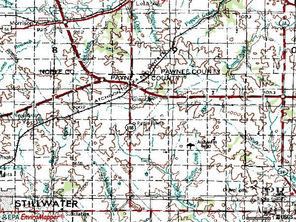 Zip code 74032 topographic map