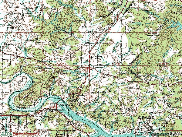Zip code 74035 topographic map