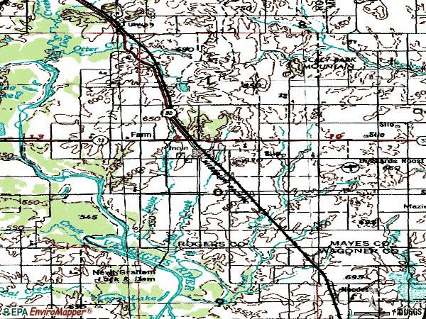 Zip code 74036 topographic map
