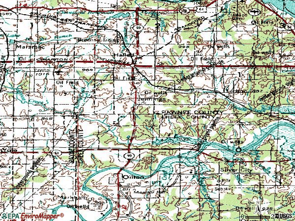 Zip code 74038 topographic map