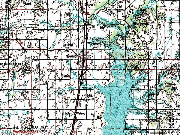 Zip code 74048 topographic map