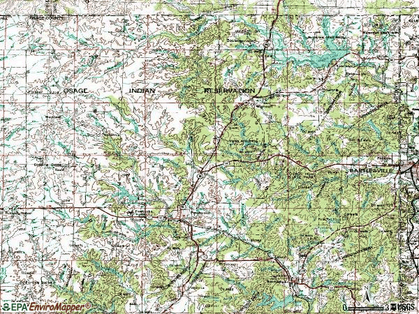 Zip code 74056 topographic map