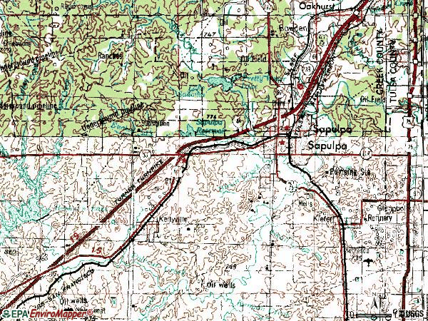 Zip code 74066 topographic map