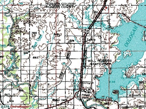 Zip code 74080 topographic map