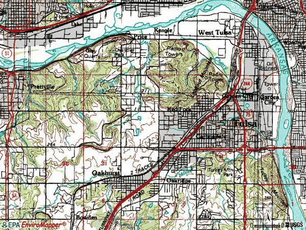 Zip code 74107 topographic map