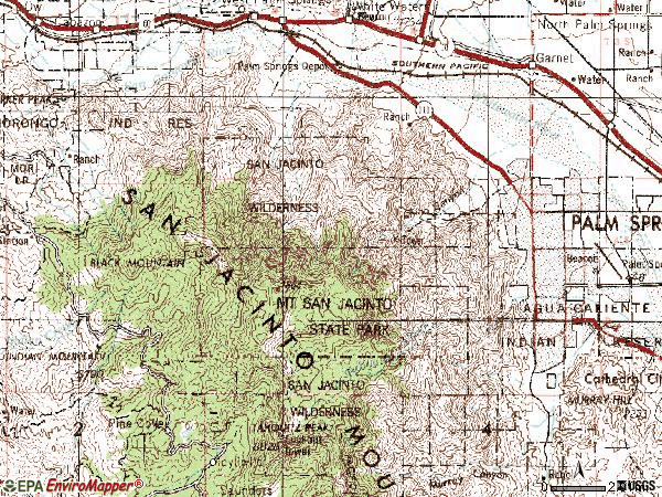 Zip code 92262 topographic map