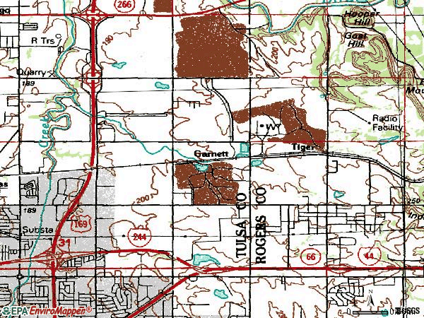 Zip code 74116 topographic map