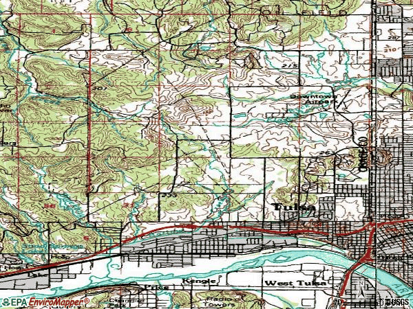 Zip code 74127 topographic map