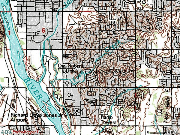 Zip code 74136 topographic map