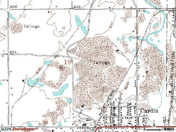 Zip code 74335 topographic map