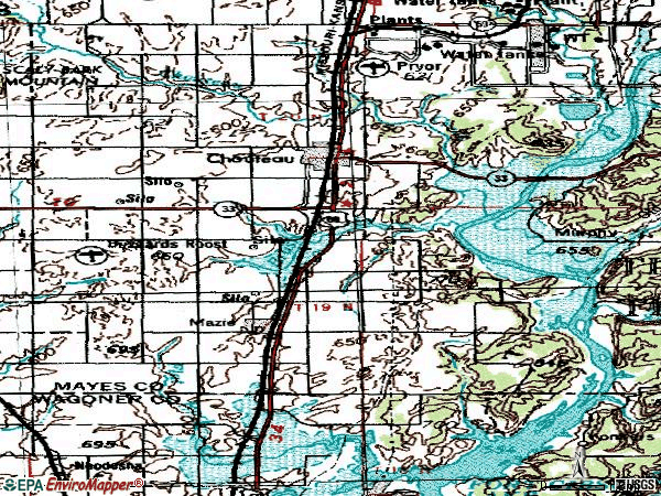 Zip code 74337 topographic map