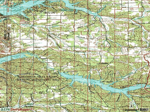 Zip code 74342 topographic map