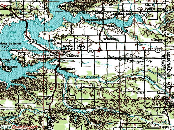 Zip code 74344 topographic map