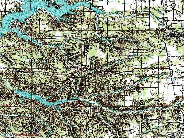 Zip code 74346 topographic map