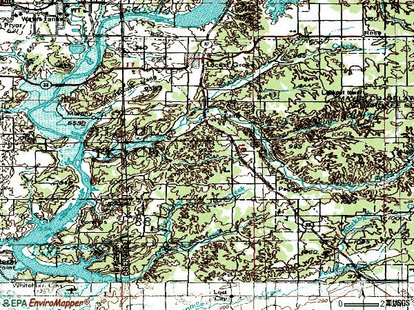 Zip code 74352 topographic map