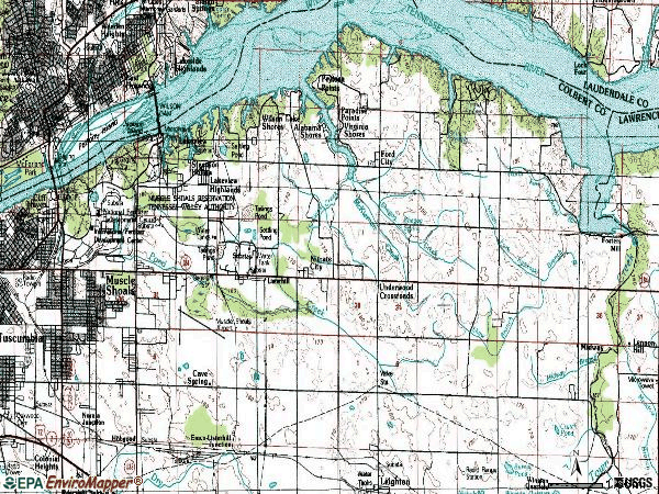 Zip code 35661 topographic map