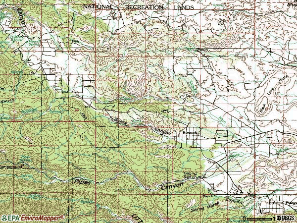 Zip code 92268 topographic map