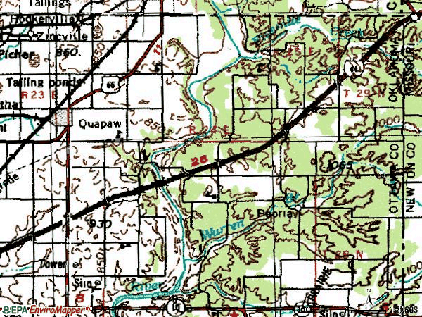 Zip code 74363 topographic map