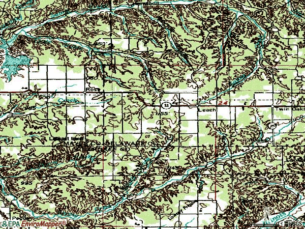 Zip code 74364 topographic map