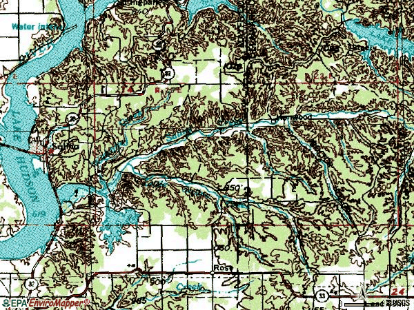 Zip code 74365 topographic map