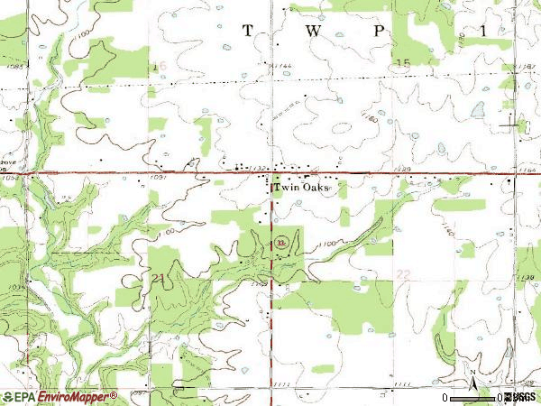 Zip code 74368 topographic map
