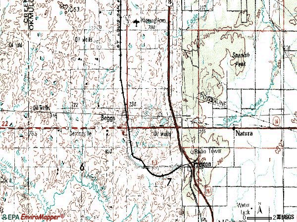 Zip code 74421 topographic map