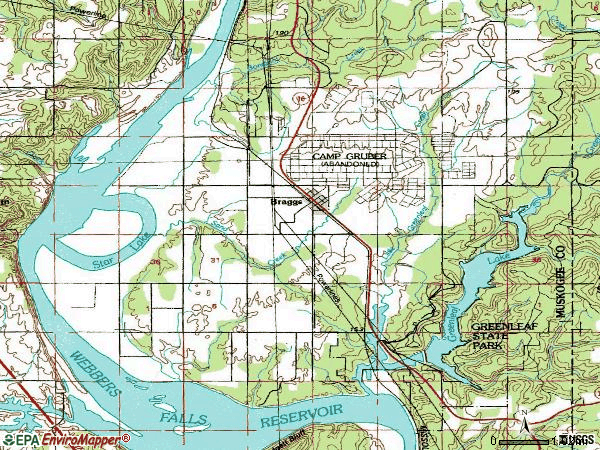 Zip code 74423 topographic map