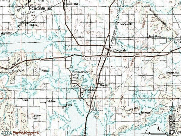 Zip code 74426 topographic map