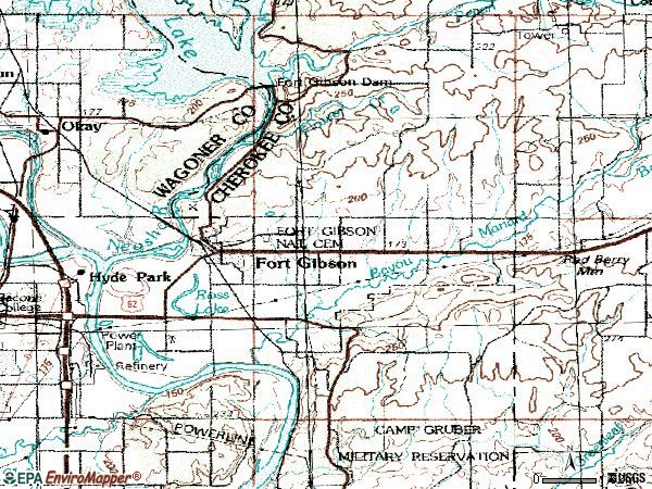 Zip code 74434 topographic map