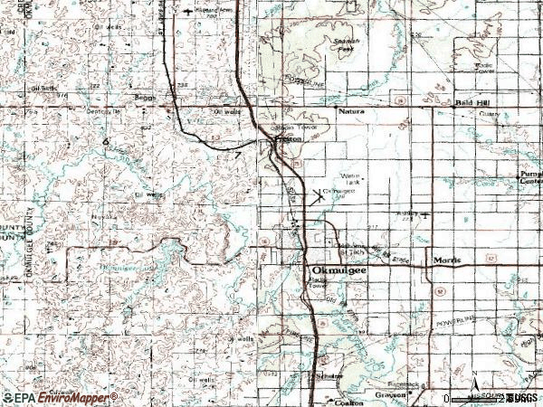 Zip code 74447 topographic map