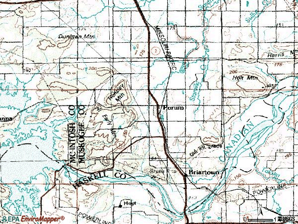 Zip code 74455 topographic map