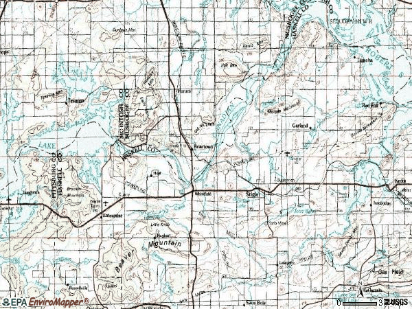 Zip code 74462 topographic map