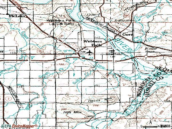 Zip code 74470 topographic map