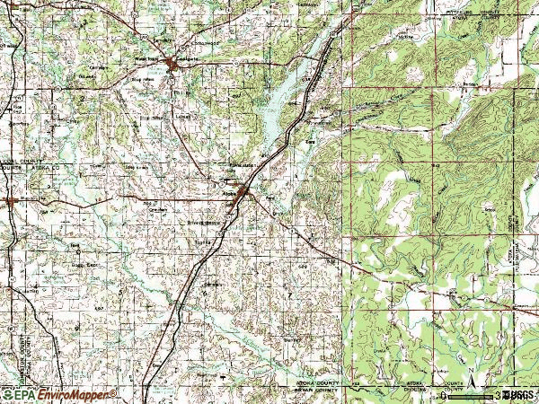 Zip code 74525 topographic map