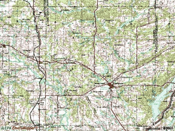 Zip code 74538 topographic map