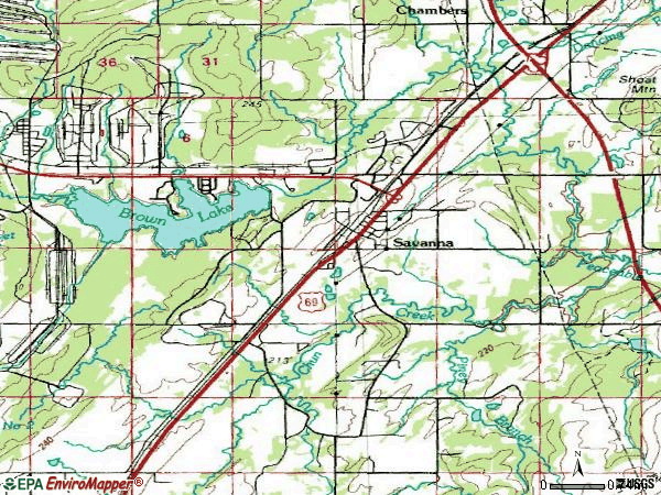 Zip code 74565 topographic map